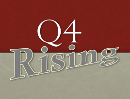 red and brown box with letter Q and number 4 with word rising