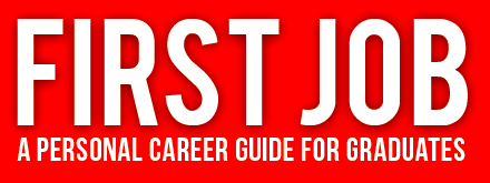 White Letters First Job with red background